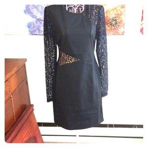 Black cotton stretch lace cocktail dress